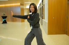 """Yuwei Pan: """"I picked the Tai Chi [pose] because Tai Chi is really about showing strength, but not necessarily through violence, [instead] through flow and being really patient. That's how I show my strength: through being gentle and being myself."""""""